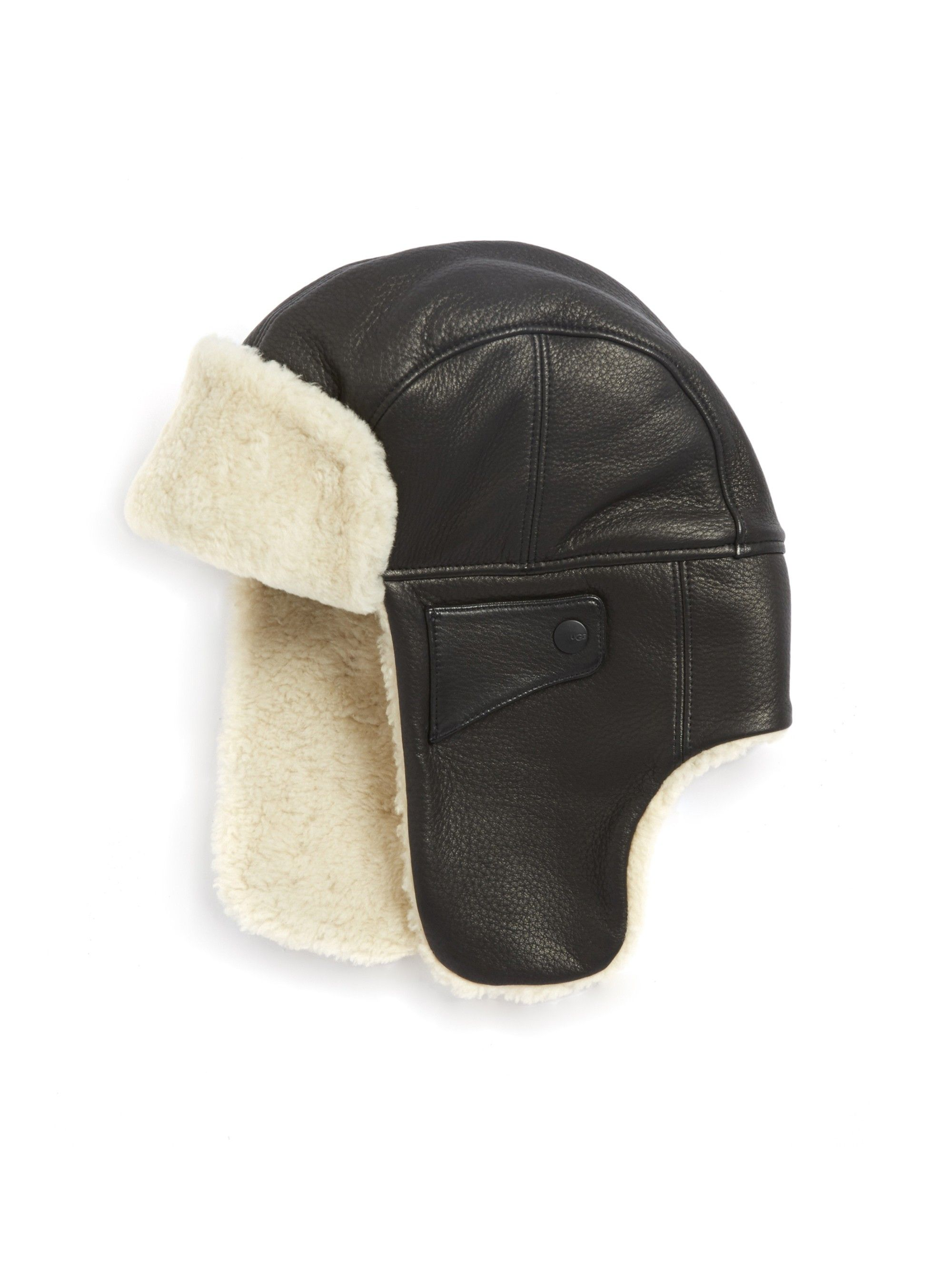 8097fbbeedb3b Ugg Australia Shearling   Leather Trapper Hat - Black Large X-Large ...