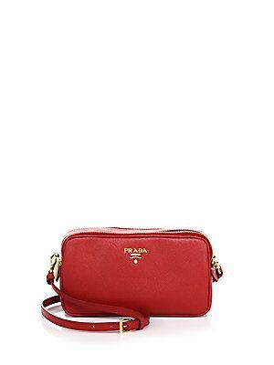 d482319b11 Prada Saffiano Leather Camera Bag - Fuoco | Products | Leather ...