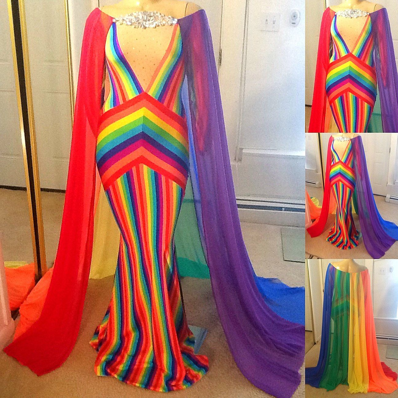 DRAG QUEEN BLACK ruffle skirt jacket rainbow dress set