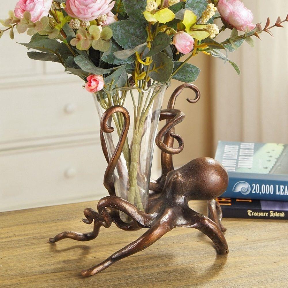 Octopus Bud Vase Flower Holder Metal Base Coastal Nautical Ocean Sea Life Decor