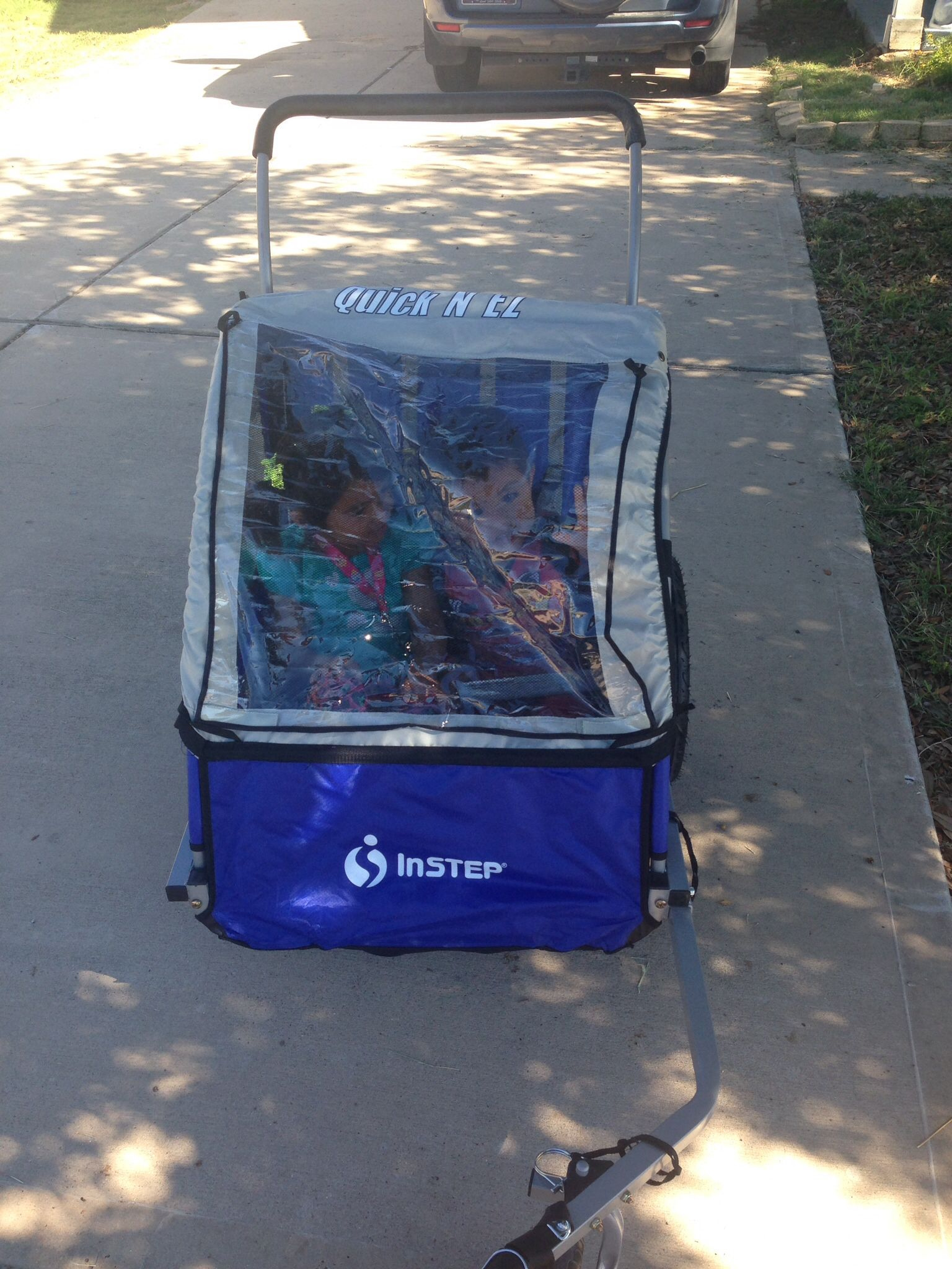 In step stroller/trailer I'm using it as a stroller for