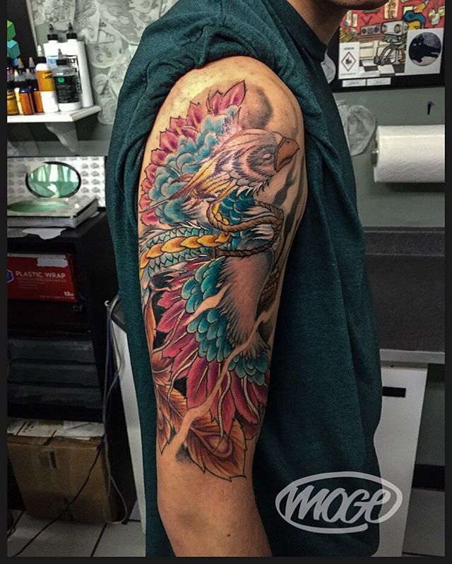 Couldn't get a good picture of the Phoenix. Lots of fun though. #Moge #empiretattoo #empiretattooinc #tattoo #bostontattoo www.empiretattooinc.com