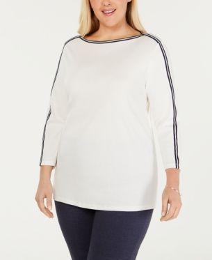 Karen Scott Plus Size Cotton Grommet-Trim Top