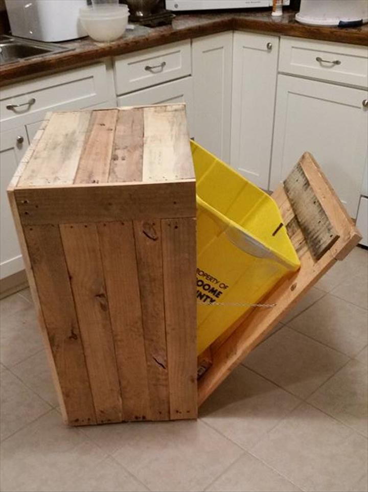 Pallet Kitchen Trash Can Holder | 101 Pallet Ideas | pallets and ...