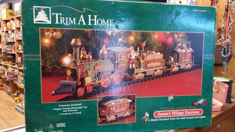 Trim A Home Santas Village Express By Blingandbluejeans On Etsy Santa S Village Santa Reading Vintage Toys
