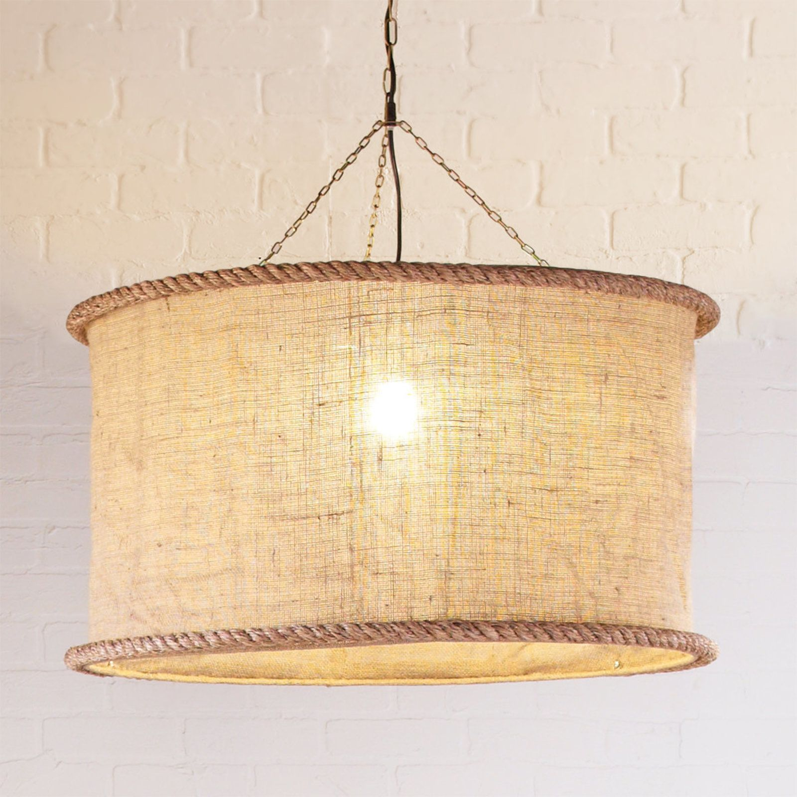 Oversized Burlap Drum Pendant Natural Burlap Drum Pendant
