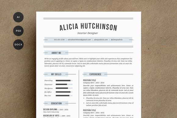 Resume Template 4 Pack CV Template Cv template, Template and