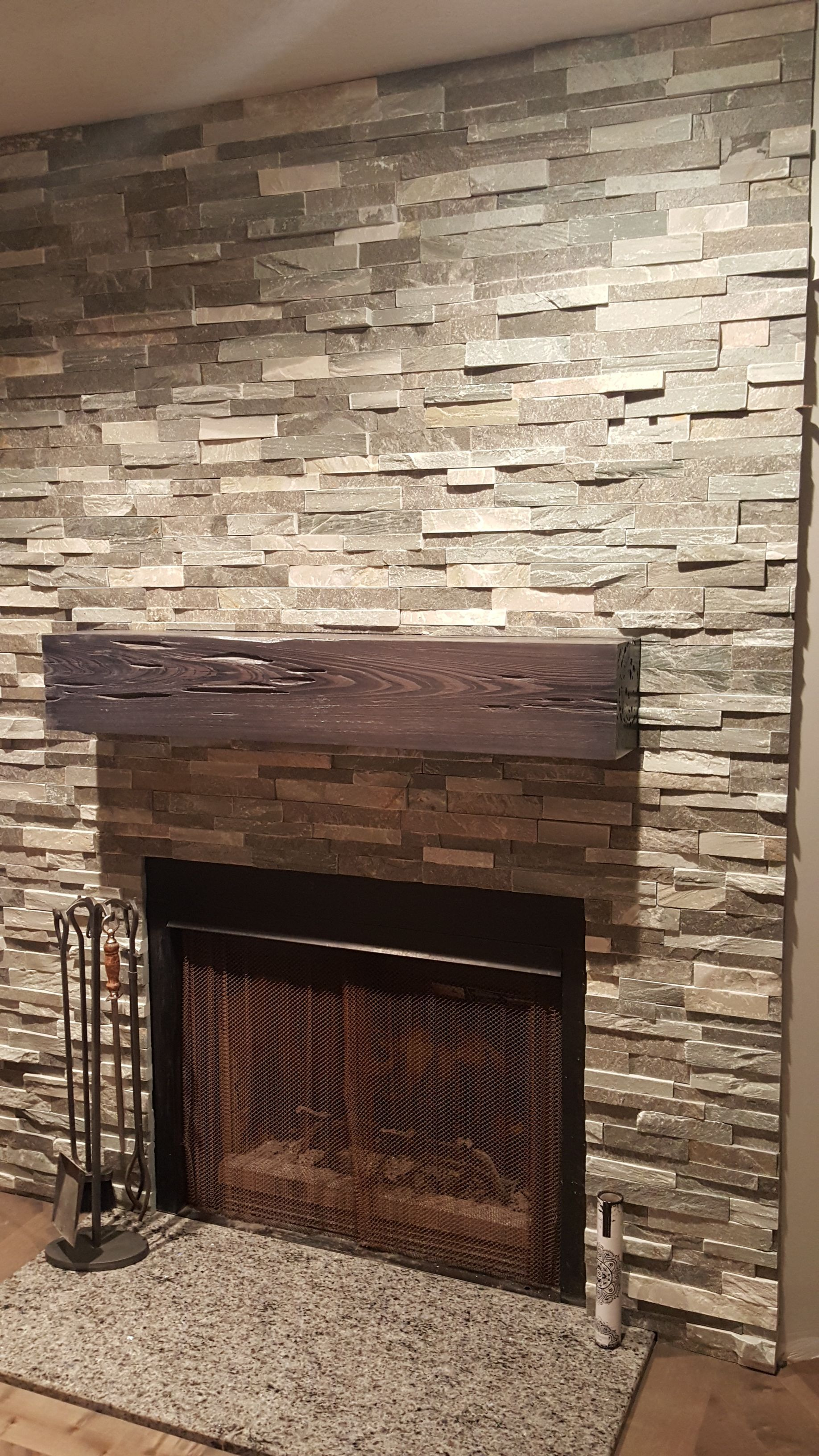 Sierra Blue Ledger Stone Accent Wall And Fireplace Surround