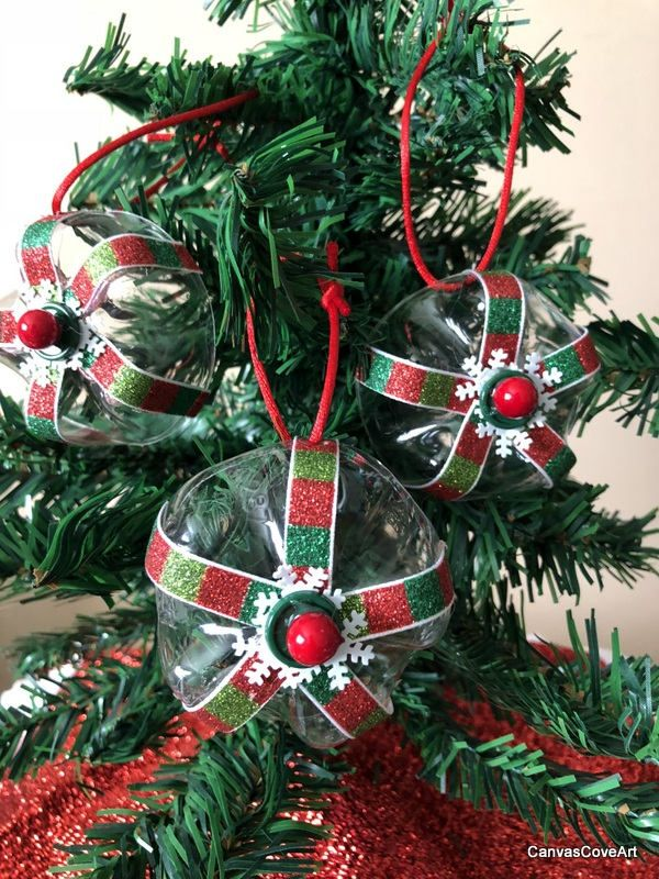 Recycled Plastic Water Bottle Bottom Red Green Stripes Christmas Interesting Decorating Plastic Water Bottles