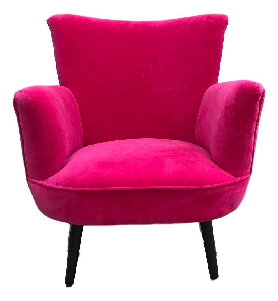 fuchsia velvet accent chair