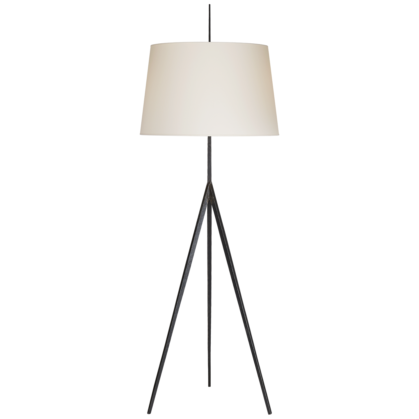 Triad Hand Forged Floor Lamp In Aged Iron With Natural