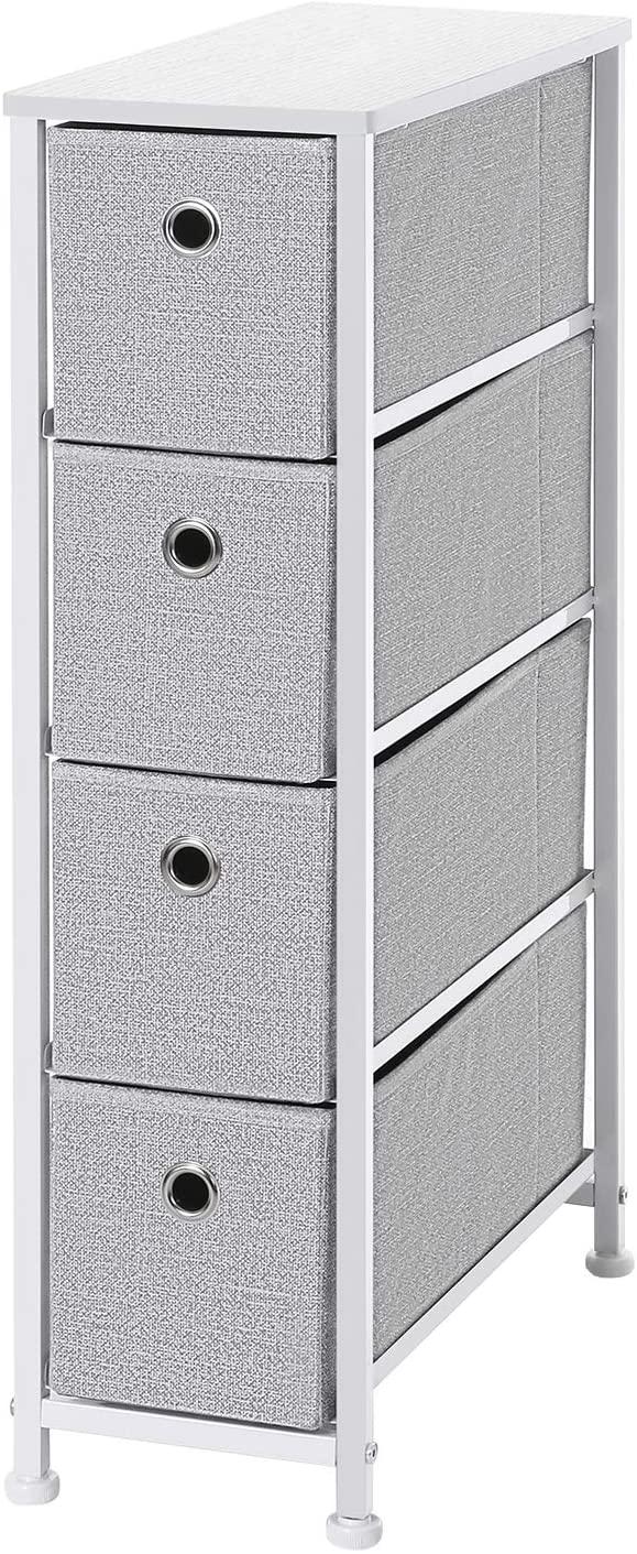 Amazon Com Songmics Narrow Dresser Vertical Storage Unit With 4 Fabric Drawers Metal Frame Slim Storage Tower 7 Fabric Drawers Drawer Unit Narrow Dresser [ 1411 x 579 Pixel ]