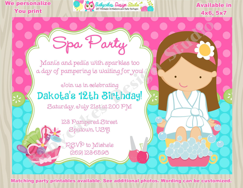 Spa Party Birthday Invitation Invite Spa Birthday Party Invitation ...