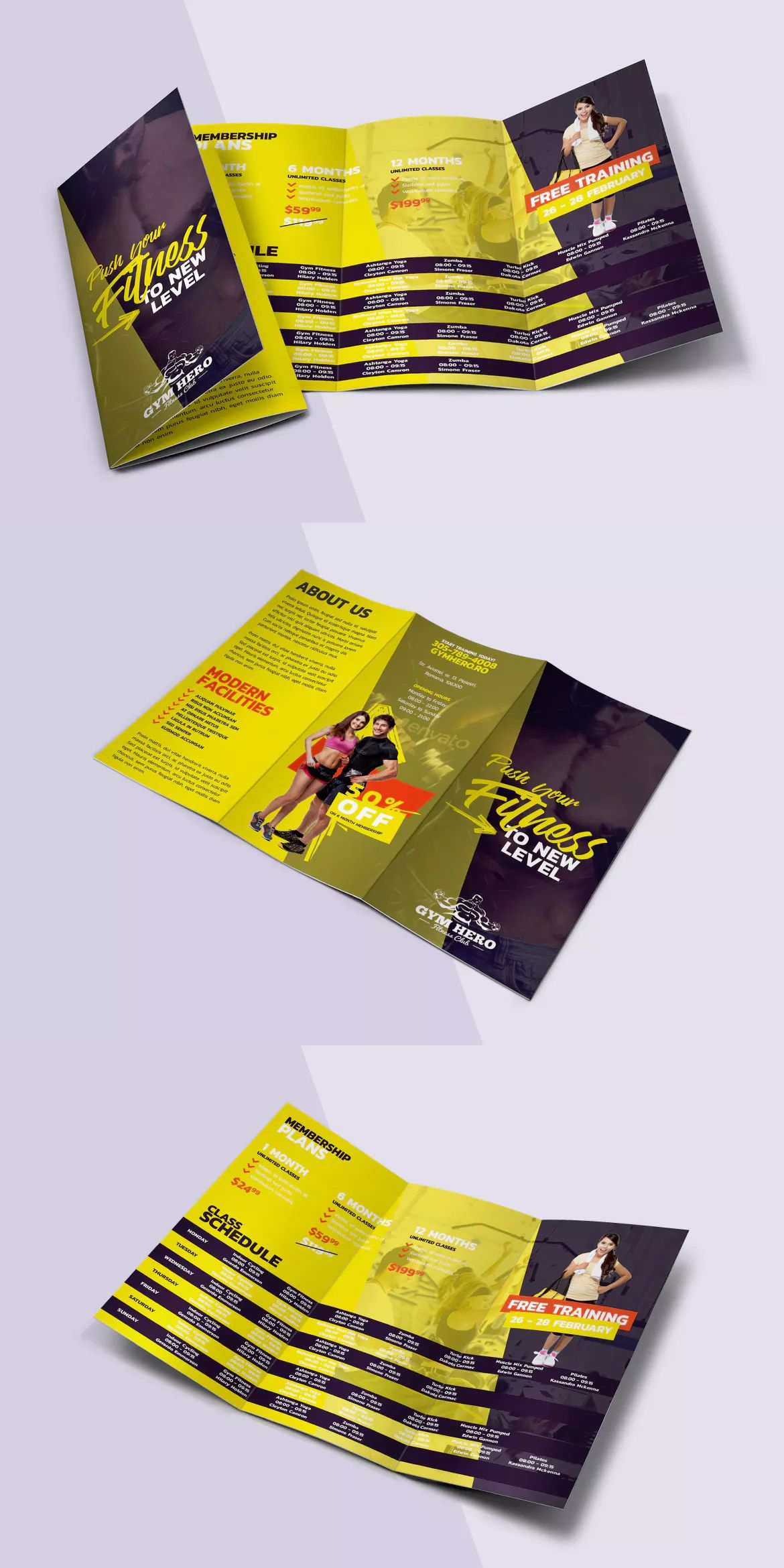 Gym Trifold Brochure Template Psd  Brochure Design Templates