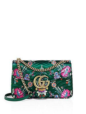 4291ee3d203106 Gucci Small GG Marmont Matelassé Floral Jacquard Chain Shoulder Bag ...