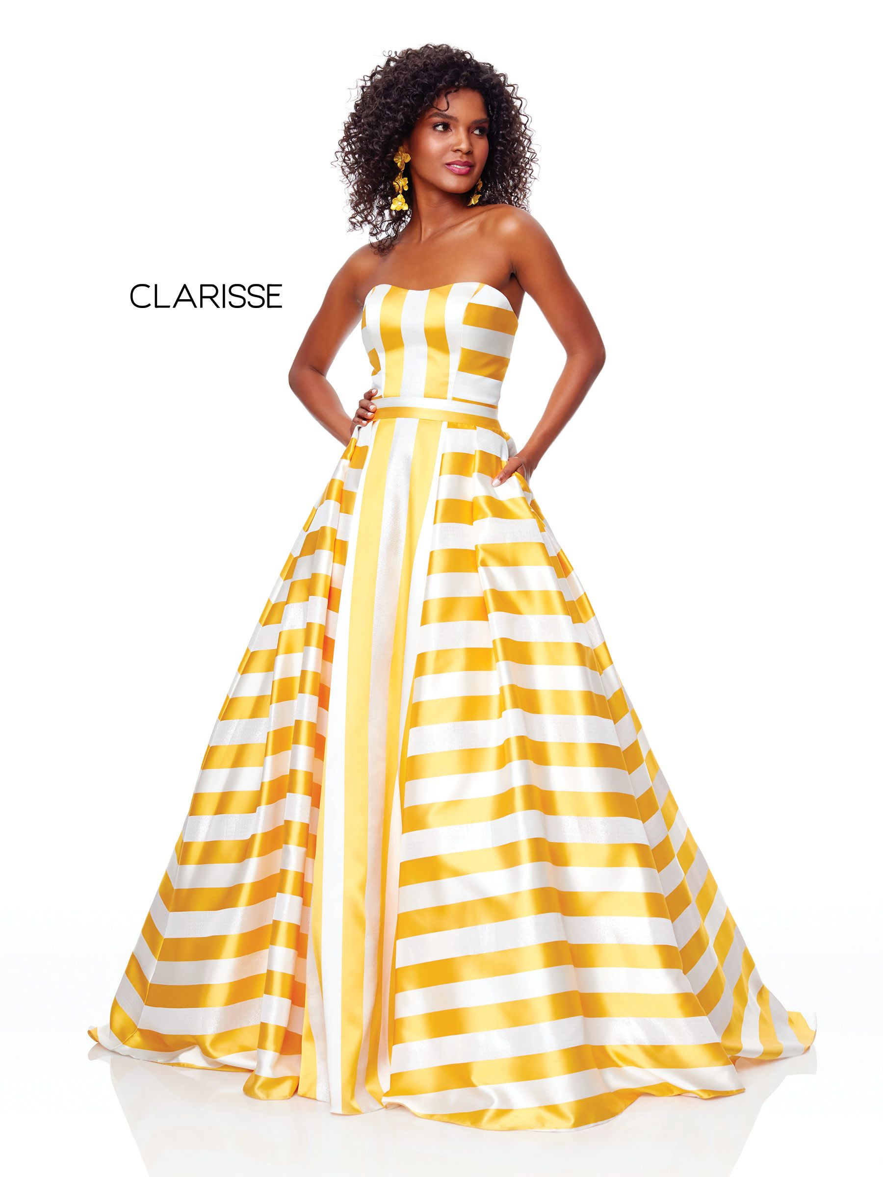c476f74161c0 3875 - Daffodil and white striped strapless ball gown with pockets ...