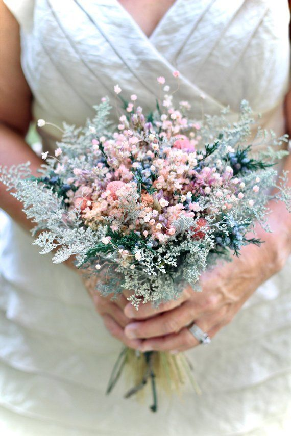 Pink Bridal Bouquet | Dried Flower Bouquet | Wildflower Bouquet | Dry Flower Bouquet | Blue Bouquet