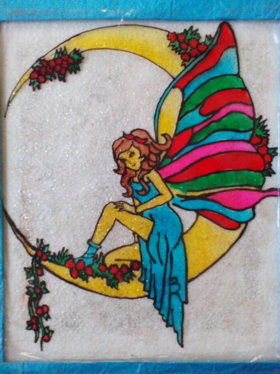 Glass Painting On An Ohp Sheet Topic Fairy Sitting On Moon I