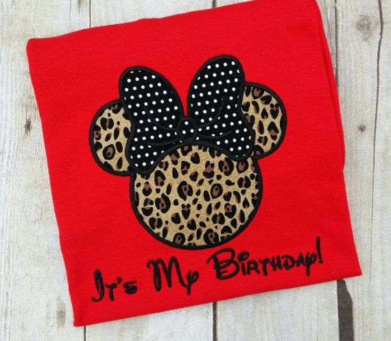 Birthday Minnie Mouse appliqued tee shirt by MakinMemoriesFun