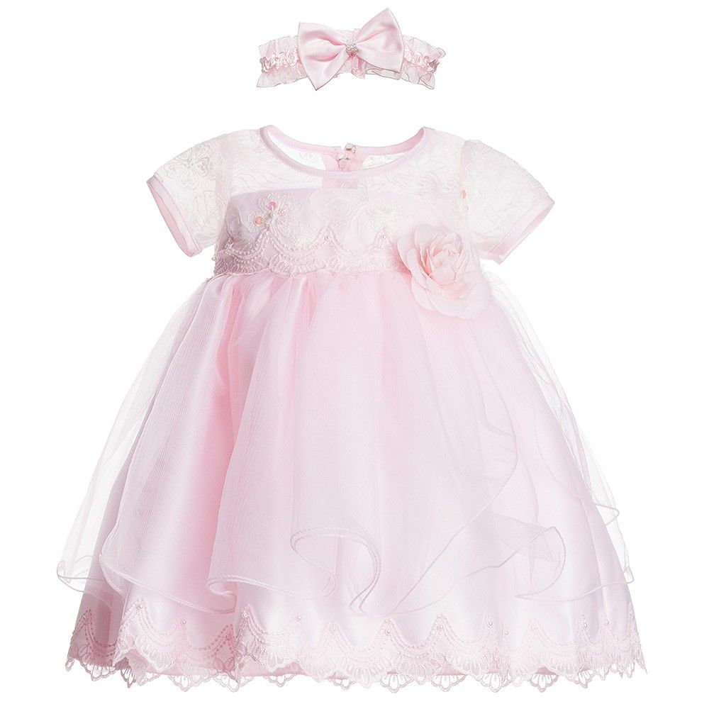 2fa037aadbf7 Baby Girls Pink Tulle Dress   Headband Set