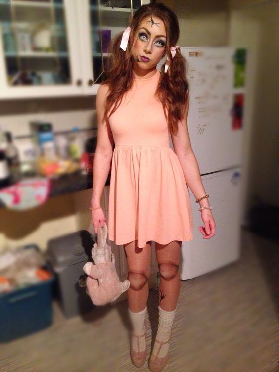 diy broken doll halloween costume idea 3