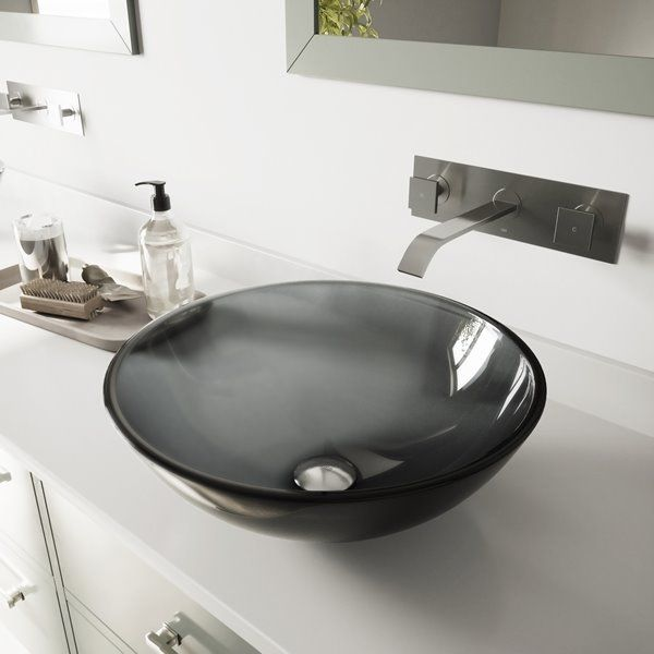Vigo Glass Vessel Bathroom Sink With Wall Mount Faucet Rona