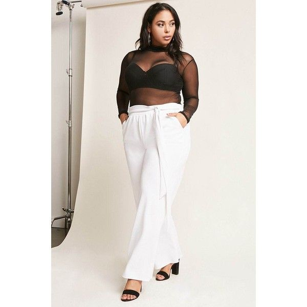 b58242335e5 Forever21 Plus Size Self-Tie Palazzo Pants ( 35) ❤ liked on Polyvore  featuring plus size women s fashion