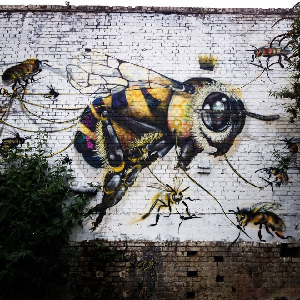 A London Street Artist Paints Louis Masai Michel Swarms of Bees on Urban Walls to Raise Awareness of Colony Collapse Disorder