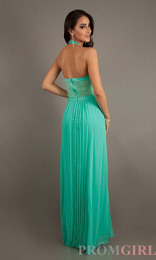 Floor Length Pleated Halter Dress by Jessica Simpson - Beautiful ...