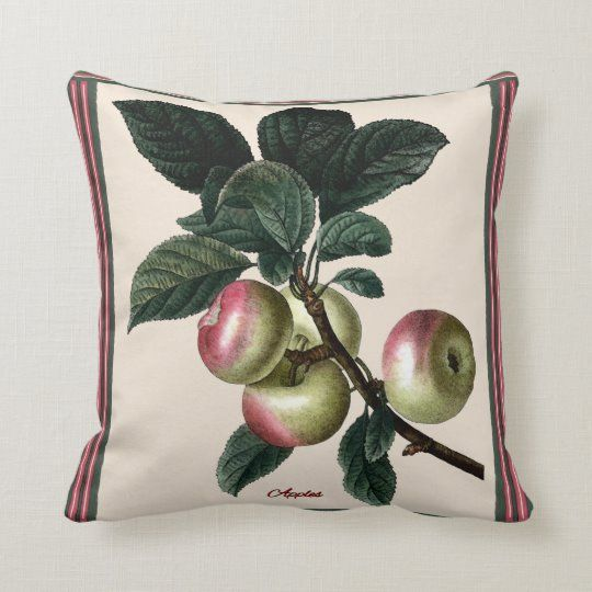 Vintage Botanical Apples Throw Pillow Zazzle Com In 2020 Throw Pillows Christmas Pillows Diy Pillows