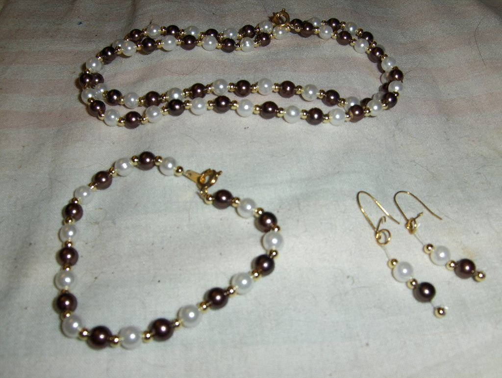 """""""Brown Metallic Mini Pearls"""" 3 piece set --- ONE OF A KIND --- $5.00 + $3.00 shipping in the USA"""