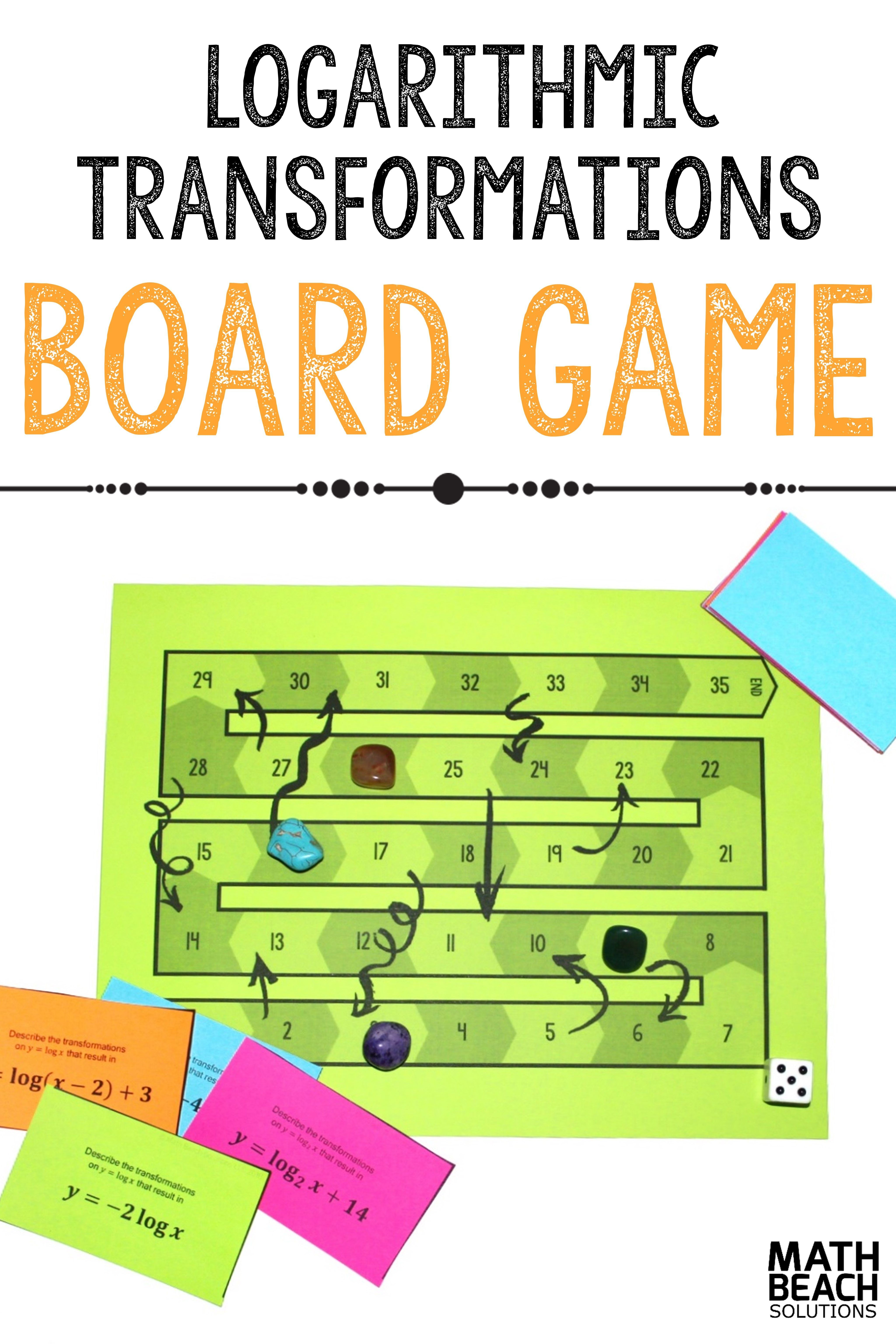 Logarithmic Function Transformations Board Game Activity