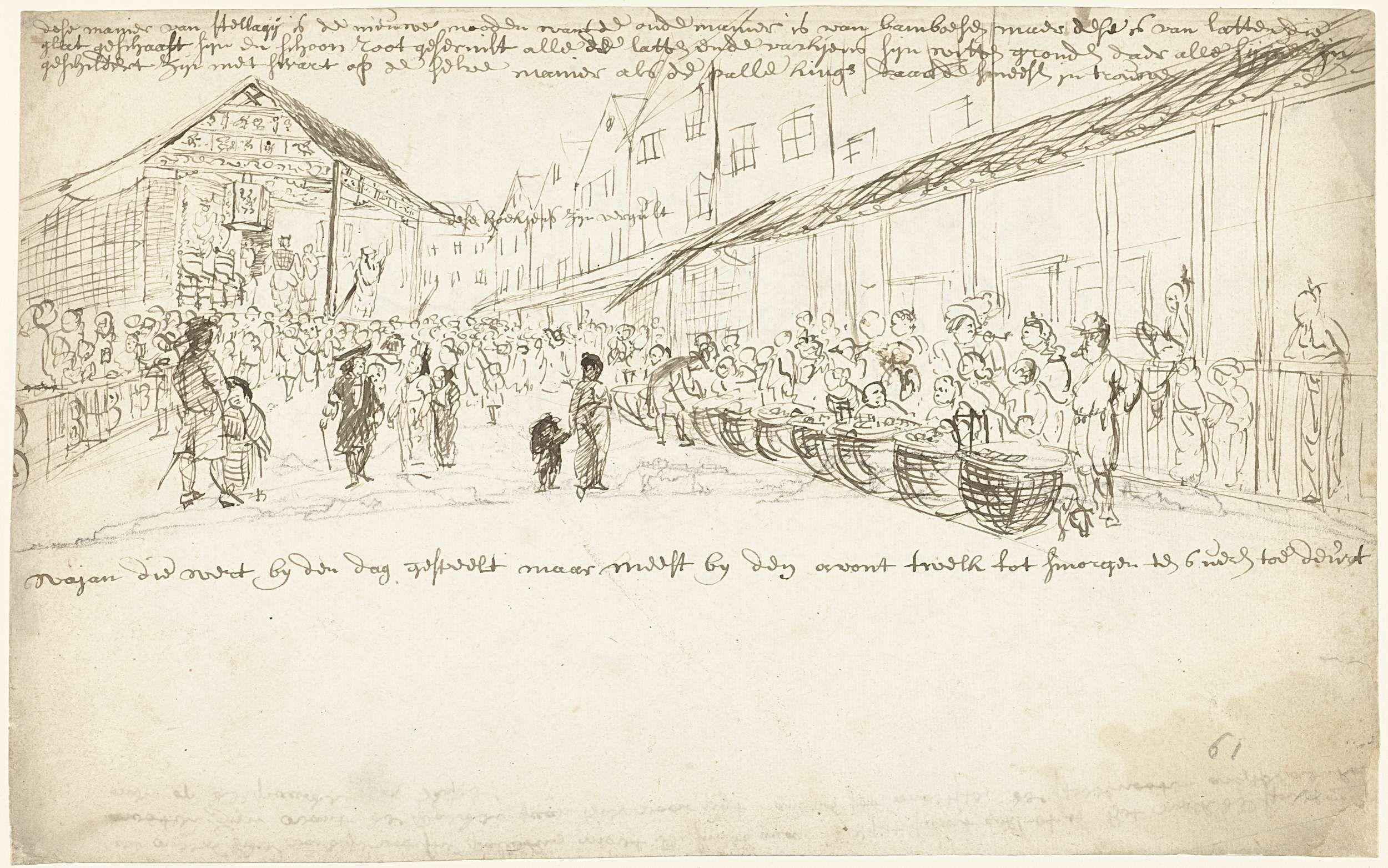anoniem | Straat met koopvrouwen, attributed to Cornelis de Bruyn, 1662 - 1726 | Straat met koopvrouwen met manden; op de achtergrond is een toneel te zien.