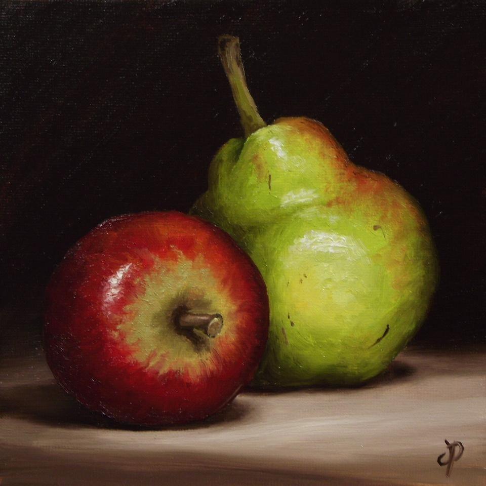 Apple and Pear, J Palmer Daily painting Original oil still life Art