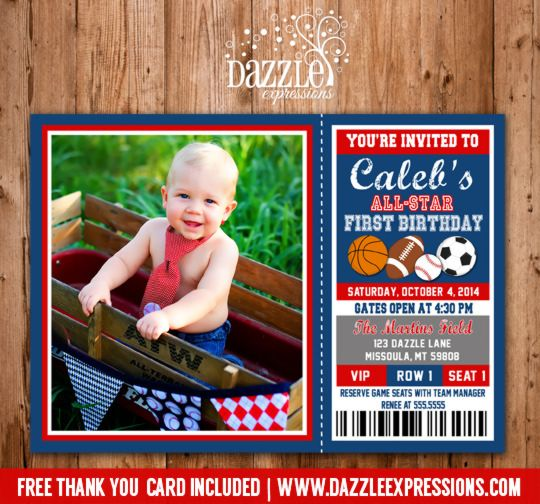 17 best Boys birthday images – Sports Ticket Invitation Template Free