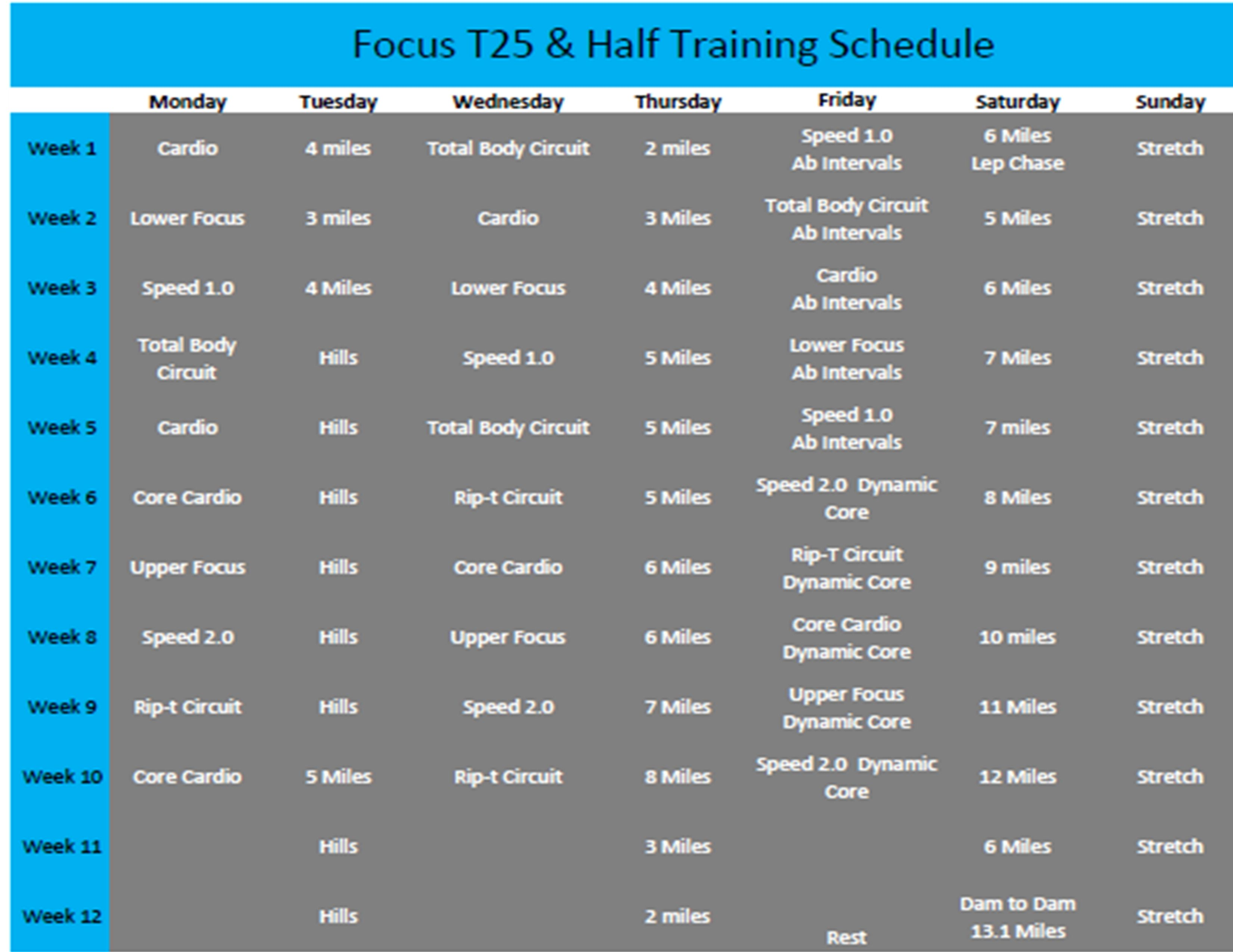 T25 And Half Schedule