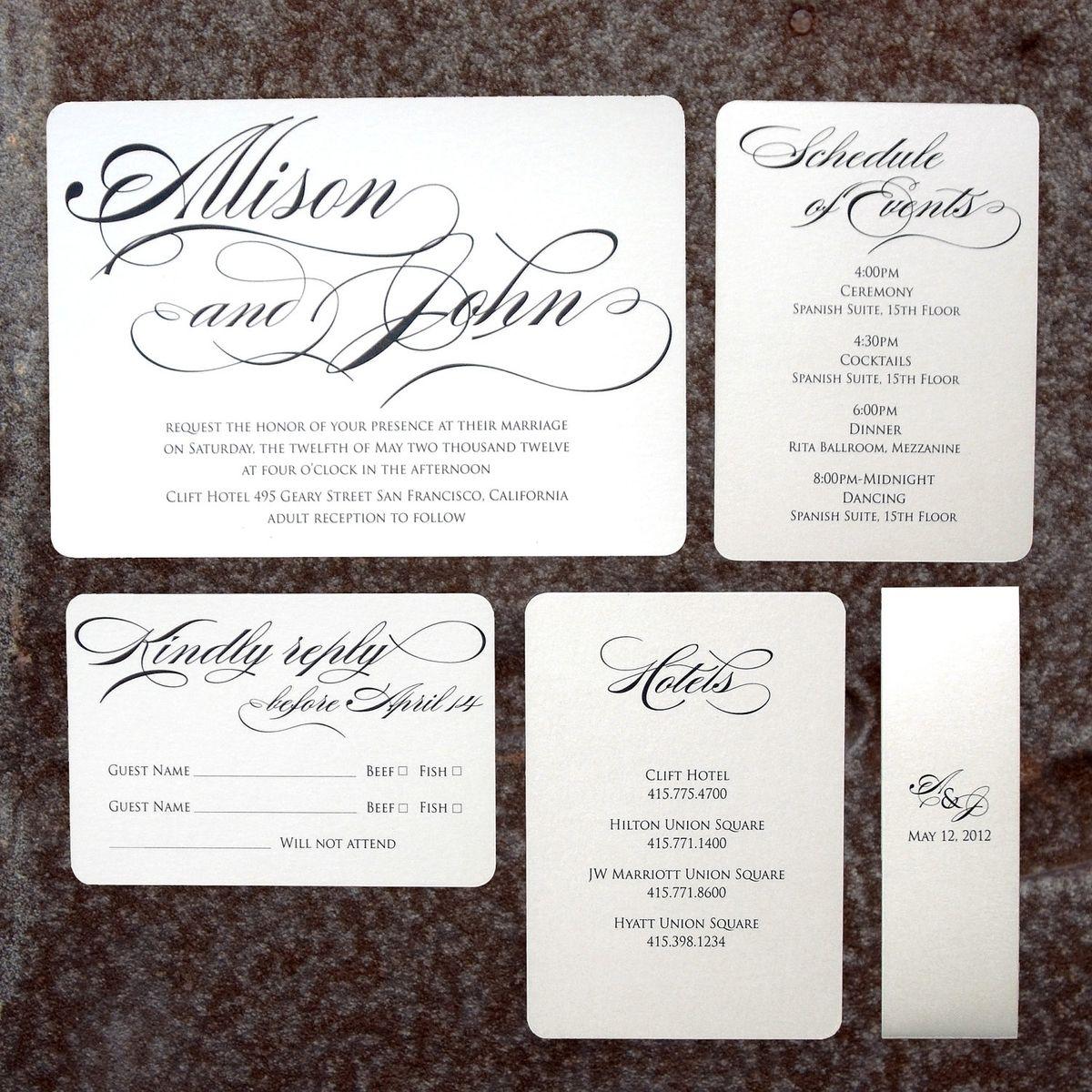 Custom Made The Allison Set - Modern Formal Wedding Invitation ...