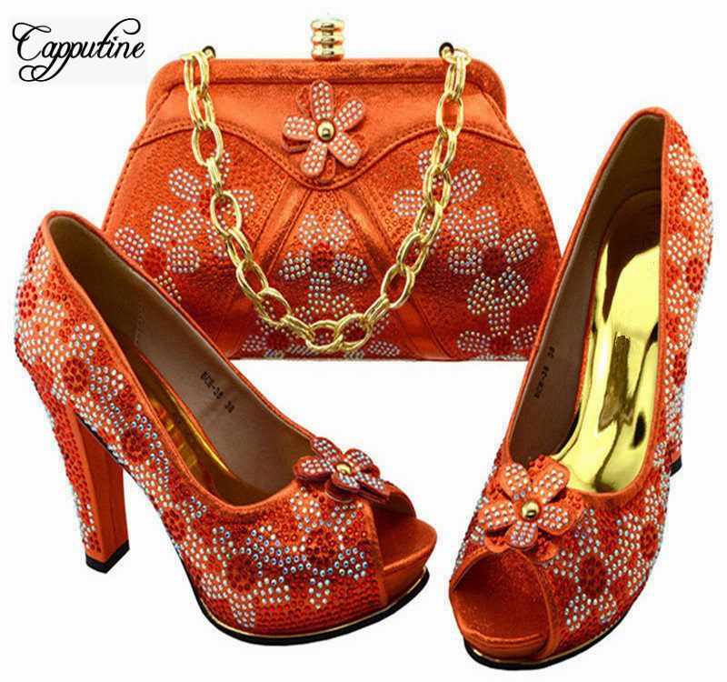 Cutine African Design Las Silver Shoes And Bag Sets Italian Rhinestones High Heels