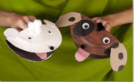 Paper Plate Puppy Puppet. The caregiver may have to make most of this craft (especially the gluing!). However playing with these puppets is great for ... & 25+ Paper plate crafts | Pinterest | Puppet Caregiver and Paper ...