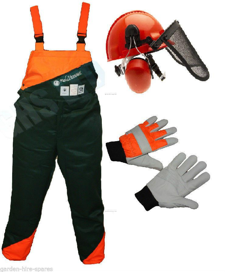 Chainsaw safety clothing protection bib brace trousers