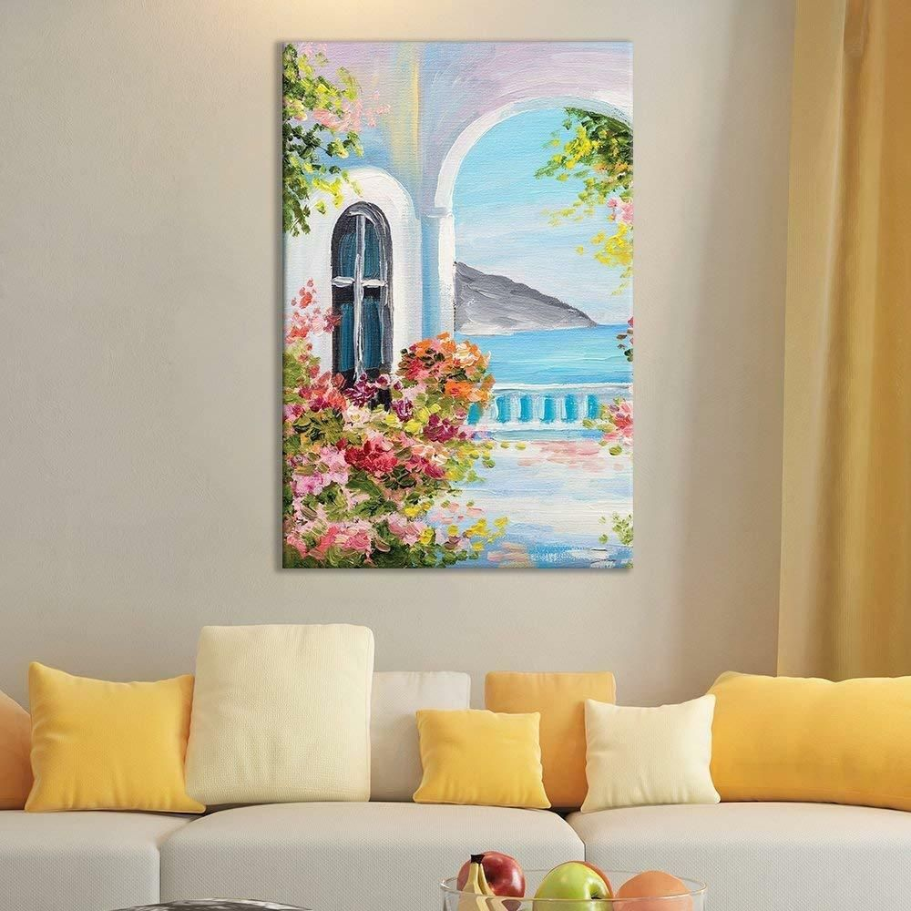 Wall26 Of Beautiful Oil Painting Of A Balcony Ocean View Cvs 12 X 18 Wall Canvas Painting Painting Beautiful Oil Paintings