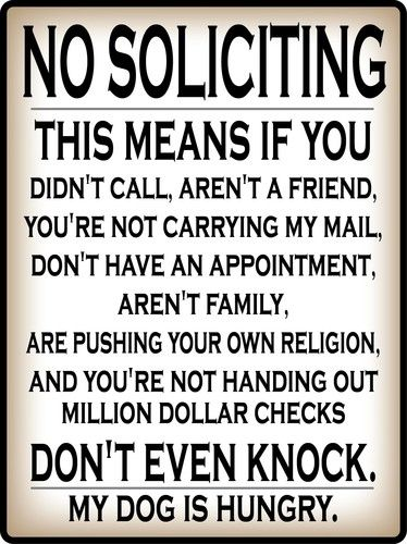 No Soliciting Hungry Dog Warning Funny Sticker Door Sign Wall Home Decor Decal Funny Quotes Funny Signs Sign Quotes