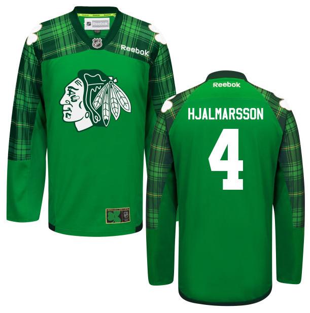2016 Men\u0027s Chicago Blackhawks Niklas Hjalmarsson #4 Green Tartan Practice  Jersey