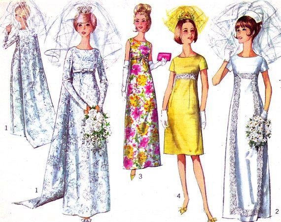 1960s Wedding Dress Pattern Simplicity 6352 Empire Waist Gown Detachable Train Bridesmaid Vintage Sewing