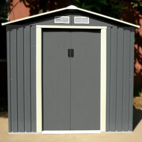 Abri de jardin en métal 25 m2 gris + kit d\u0027ancrage inclus Metals