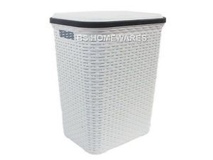 Hamper Style Rattan Laundry Hamper 56 L White Bin Basket