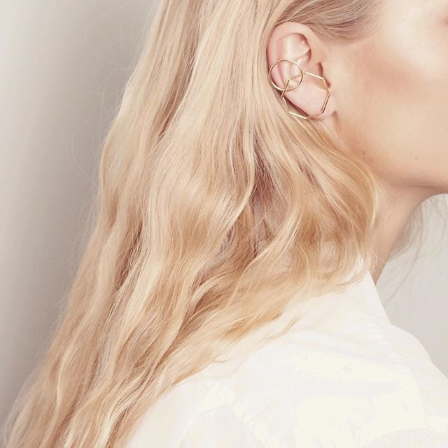 The Odette Earring in gold.  www.natashaschweitzer.com