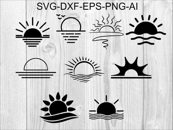 Sunset Svg 2 Sun Palm Beach Sea Ocean Dolphin Etsy In 2021 Graphic Illustration Sunset Tattoos Sunrise Tattoo
