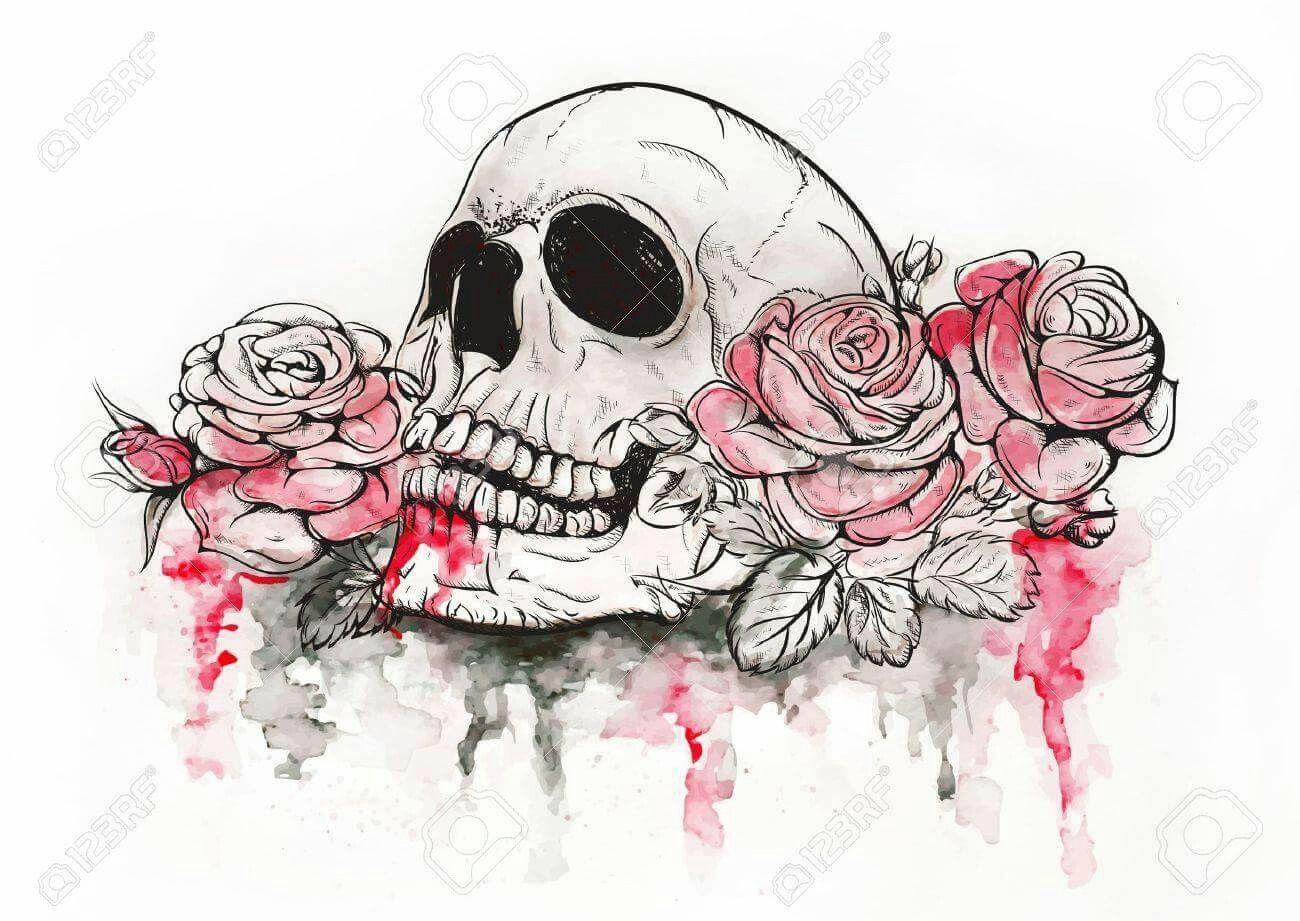 Skull And Roses Skulls And Skeletons Skulls And Roses Floral Skull Flower Skull