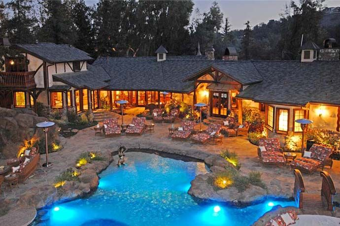 A Luxurious Pool With A Waterfall And A Cave At Old Lion Manor, California,